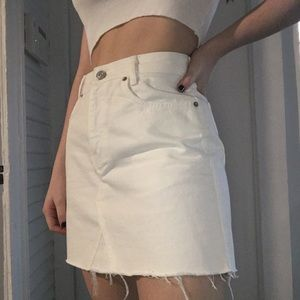 UO white denim skirt